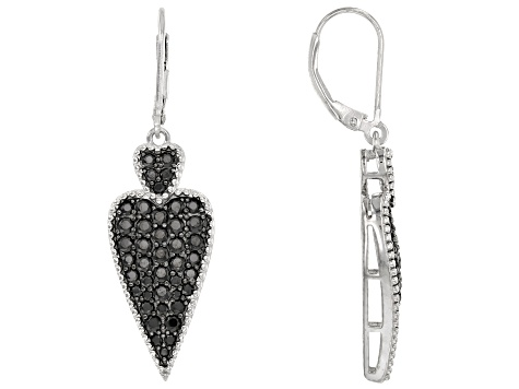 Black spinel rhodium over silver earrings 2.12ctw