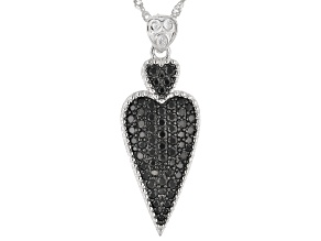 Black spinel rhodium over silver pendant with chain 1.65ctw