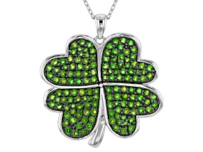 Green Russian Chrome Diopside Rhodium Over Silver Pendant With Chain 3.94ctw