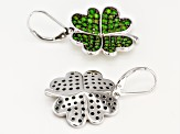 Green Russian Chrome Diopside Rhodium Over Silver Earrings 3.84ctw