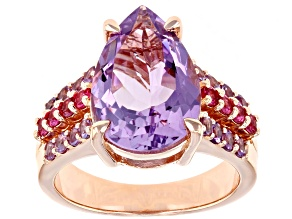 Purple Rose de France Bolivian amethyst 18k rose gold over silver ring 4.16ctw