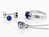 Blue Kyanite Rhodium Over Silver Jewelry Set 3.35ctw