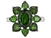 Green chrome diopside rhodium over silver ring 5.62ctw