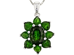 Green chrome diopside rhodium over silver pendant with chain 5.62ctw