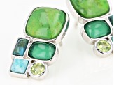 Green Turquoise Rhodium Over Sterling Silver Earrings .22ctw