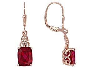Red lab created ruby 18k rose gold over silver earrings 4.20ctw