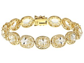 Yellow Labradorite 18k Gold Over Silver Bracelet 16.64ctw