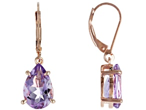 Lavender Bolivian amethyst 18k rose gold over silver earrings 4.59ctw