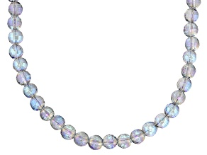 Blue Quartz Bead Rhodium Over Silver Necklace