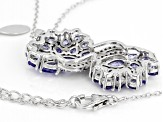 Blue tanzanite rhodium over silver pendant with chain 3.02ctw