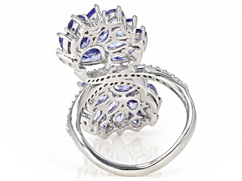 Blue tanzanite rhodium over sterling silver ring 4.24ctw