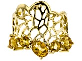 Yellow citrine 18k yellow gold over silver ring 1.92ctw