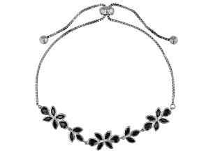 Black spinel sterling silver bracelet 2.34ctw