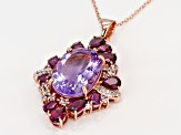 Pink amethyst 18k rose gold over silver pendant with chain 12.94ctw