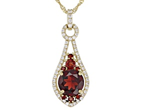 Red garnet 18k gold over silver pendant with chain 3.62ctw