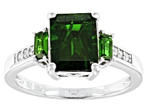 Green chrome diopside rhodium over silver ring 2.21ctw