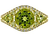 Green peridot 18k gold over silver ring 3.39ctw