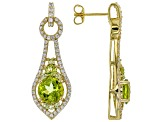 Green peridot 18k yellow gold over silver earrings 5.40ctw