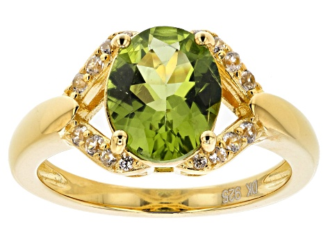 Green peridot 18k gold over silver ring 2.74ctw