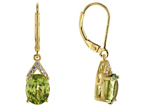 Green peridot 18k gold over silver dangle earrings 3.34ctw