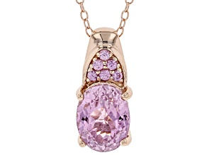 Pink kunzite 18k rose gold over silver pendant with chain 2.36ctw