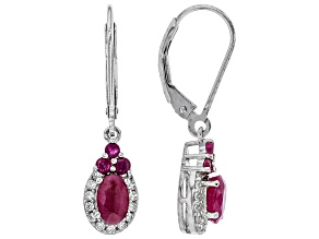 Red ruby rhodium over silver earrings 1.49ctw