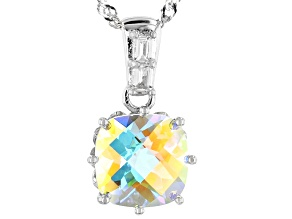 Multicolor Mercury Mist(R) topaz rhodium over silver pendant with chain 5.08ctw