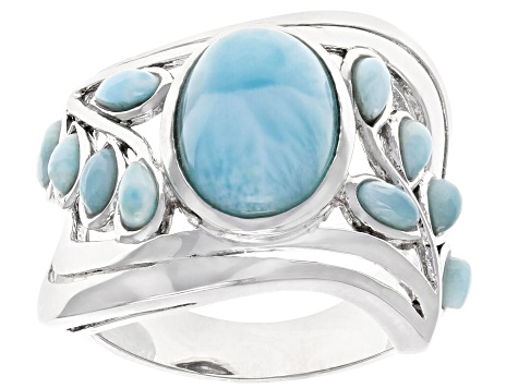 Blue larimar rhodium over silver band ring