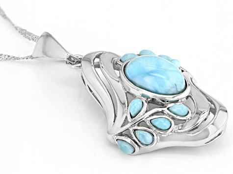 Blue larimar rhodium over silver enhancer/pendant with chain