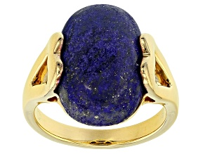 Blue Lapis Lazuli 18k Gold Over Silver Ring