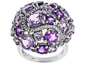 Purple amethyst rhodium over silver ring 8.12ctw