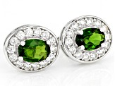 Green chrome diopside rhodium over silver earrings 2.61ctw