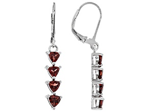Red garnet rhodium over silver earrings 2.04ctw