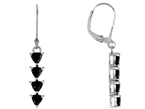 Black spinel rhodium over silver dangle earrings 1.83ctw