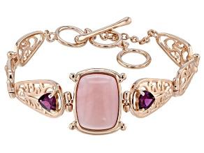 Pink Peruvian Opal 18k Rose Gold Over Silver Bracelet 1.58ctw