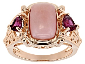 Pink Peruvian Opal 18k Rose Gold Over Silver Ring .90ctw