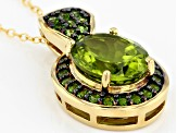 Green peridot 18k gold over silver pendant with chain 3.93ctw