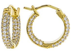 White zircon 18k gold over silver inside/outside hoop earrings 2.38ctw