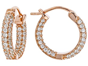White zircon 18k rose gold over silver inside/outside hoop earrings 2.38ctw