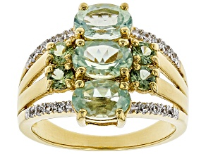 Green Amblygonite 18k Gold Over Silver Ring 2.75ctw