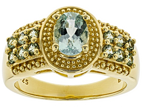Green Amblygonite 18k Gold Over Sterling Silver Ring 1.23ctw