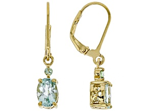 Green Amblygonite 18k Gold Over Silver Earrings 1.27ctw