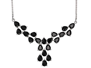 Black spinel rhodium over sterling silver necklace 6.06ctw