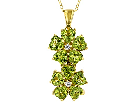 Green Peridot 18k yellow gold over silver pendant with chain 3.92ctw