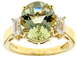 Yellow apatite 18k gold over silver ring 4.54ctw