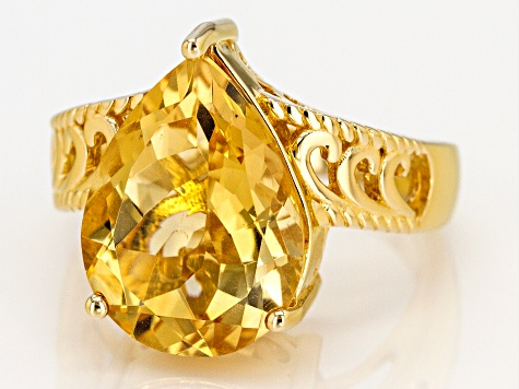 Yellow golden citrine 18k gold over silver ring 5.83ct