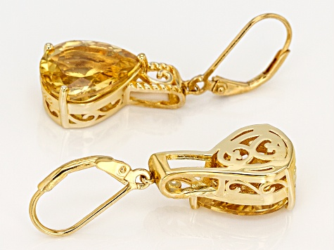 Yellow golden citrine 18k gold over silver earrings 8.50ctw