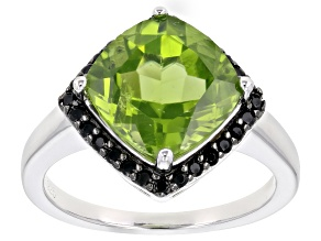 Green peridot rhodium over silver ring 3.73ctw