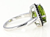Green peridot rhodium over silver ring 3.73ctw
