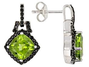 Green peridot rhodium over silver earrings 5.20ctw
